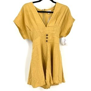 PINK LILY Believe in Happiness Mustard Romper